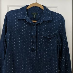 LRL 100% cotton denim style button down